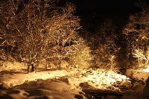 渓流の雪景色をライトアップします